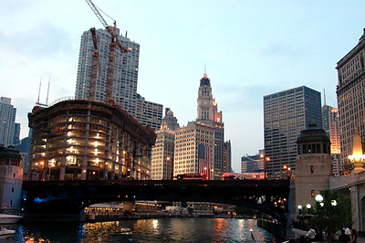 Chicago River, Trump Hotel & Condos under construction, Wrigley Bldg, IL 7-3-2006