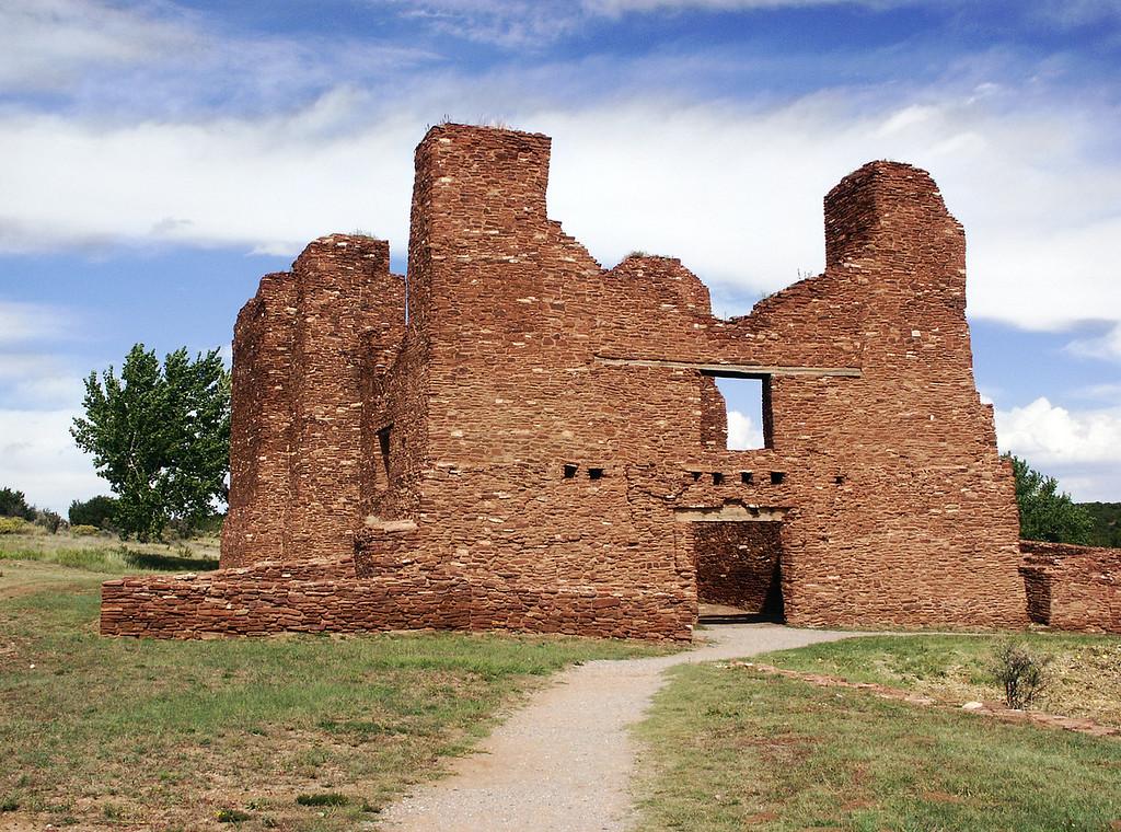 red sandstone walls of Quarai pueblo ruins, off NM-55, near Punta del Agua, New Mexico