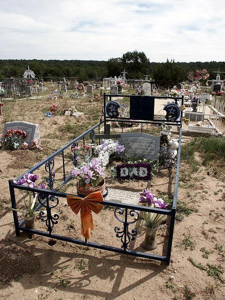 Fernando Torres, dad & Cowboys fan-Chilili cemetery, NM 10-2003