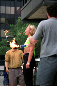 Busker's Fair - torchthrowers & cigar NYC 1997 July