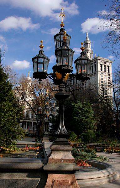 gas bronze candelabras in City Hall Park-Lower Manhattan, NY 11-2004
