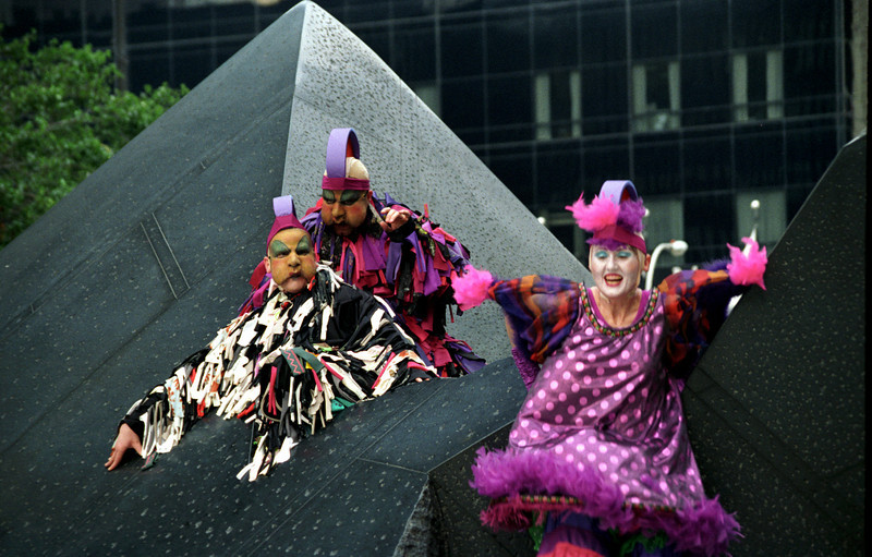 Buskers Fair - 3 on pyramids - WTC, NYC 1997 June