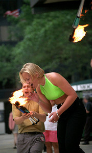 Buskers Fair - passing of the torch - WTC NYC 1997 July