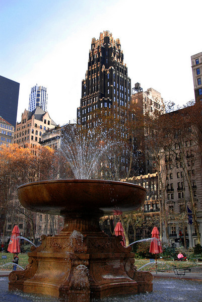 gilded American Radiator Bldg, aka Bryant Park Hotel, & the Josephine Shaw Lowell Memorial Fountain-Midtown Manhattan, NYC 11-2004