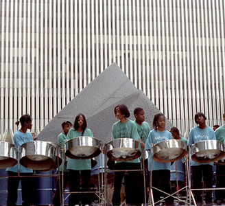 Buskers Fair - tympani drummers - World Trade Center 1997 June
