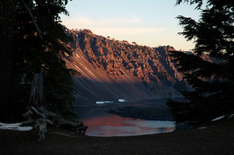 caldera slope sliding into Crater lake, Oregon 9-16-2006