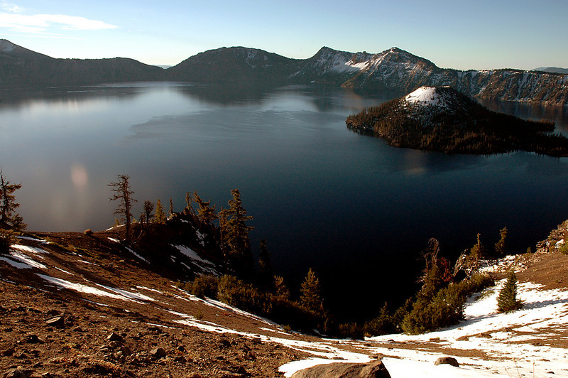 Crater Lake & snow-capped Wizard Island, OR 9-16-2006