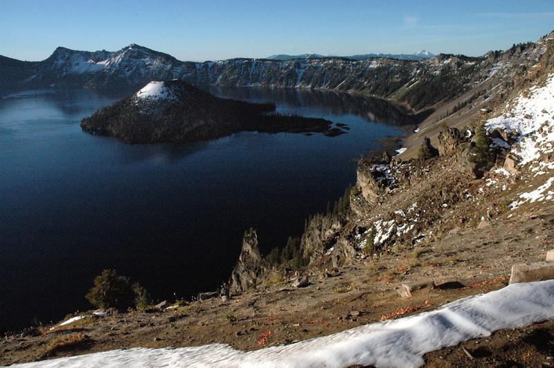 Wizard Island's snow cap-Crater Lake, Oregon 9-2006