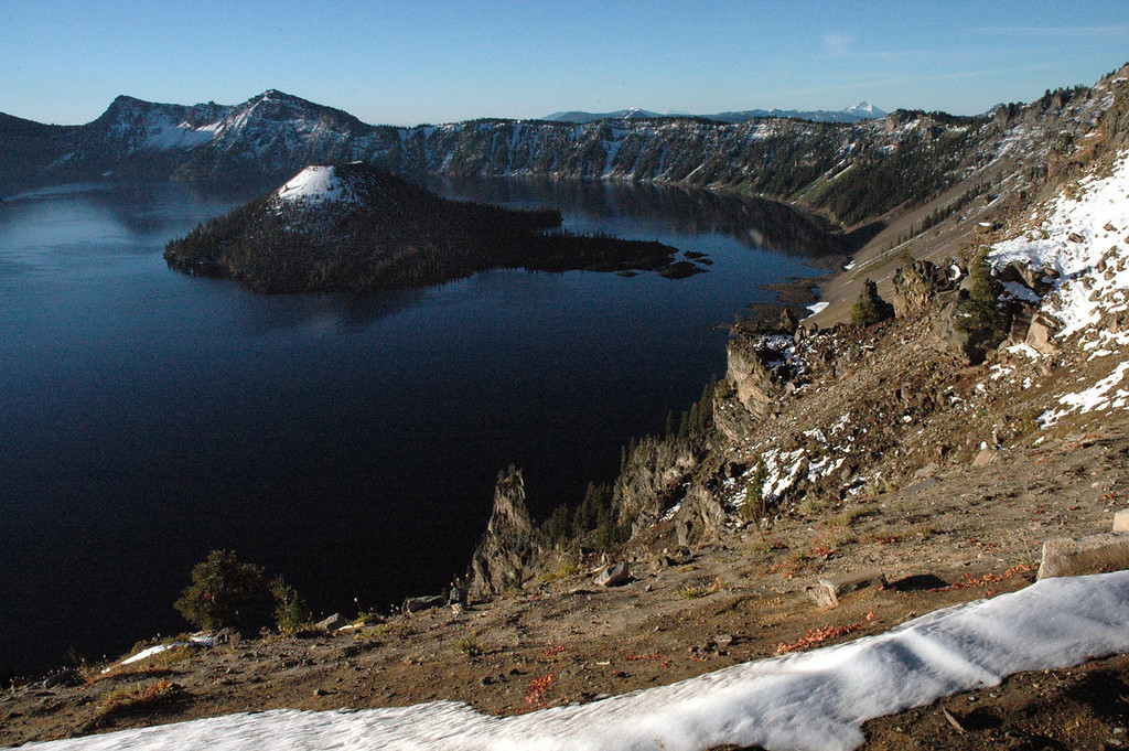 Wizard Island's snow cap-Crater Lake, Oregon 9-2006