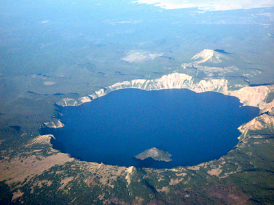Crater Lake from plane-Oregon 7-31-2007