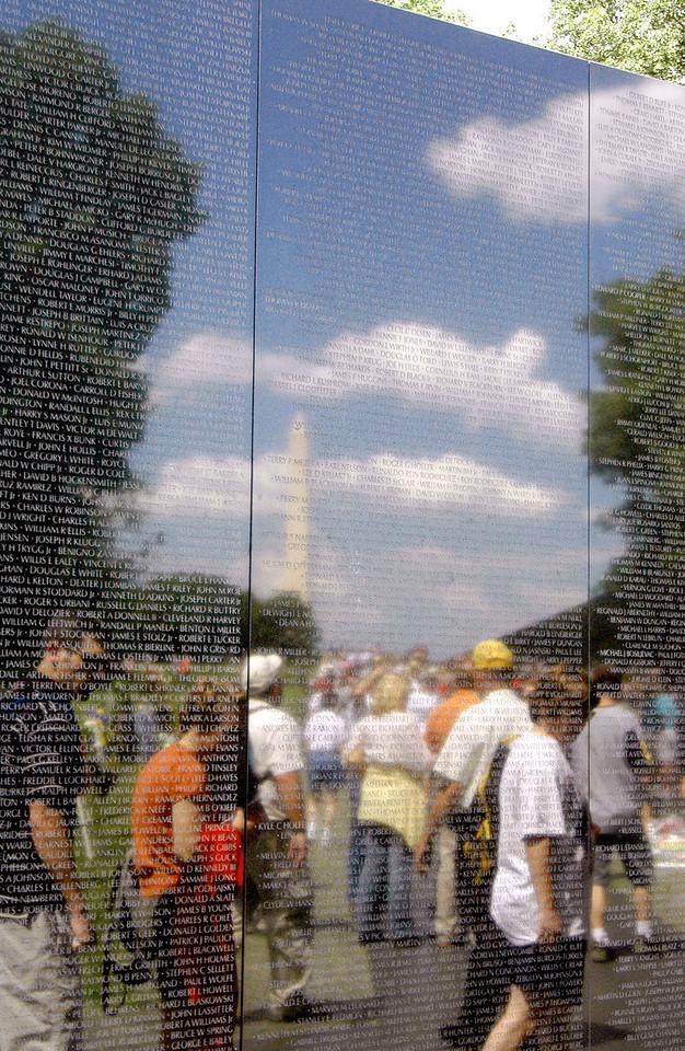 Vietnam Memorial Wall reflecting Washington Monument 6-1-04