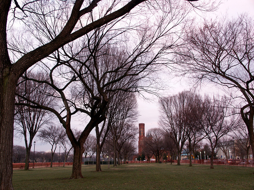 Smithsonian Castle & trees on The Mall 2003 Mar