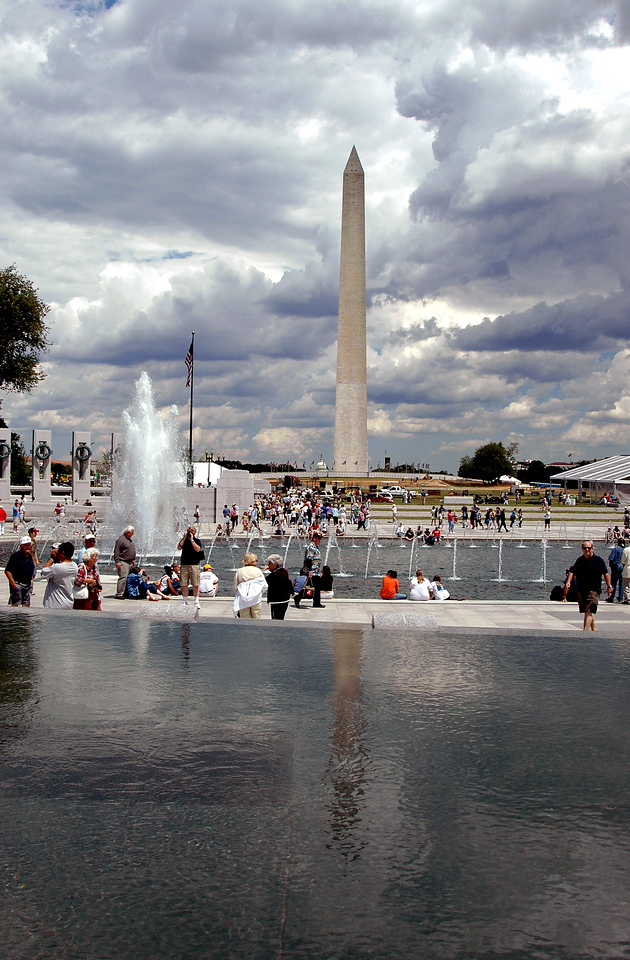 Washington Monument in the clouds & WWII Memorial Reflecting Pool 6-1-04