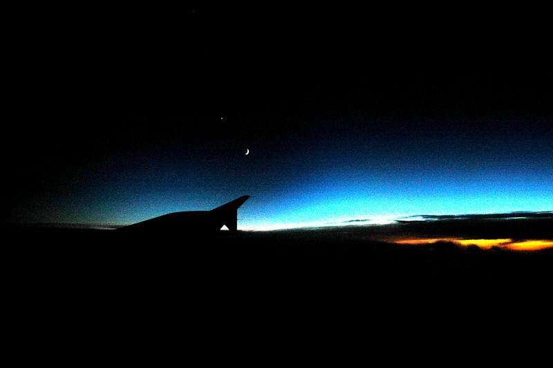 moonrise over sunset from plane-VA 10-6-05