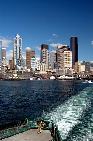 hanging around on the Bainbridge Island ferry, enjoying the Seattle skyline 7-2006