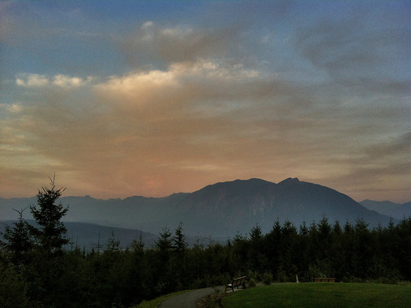 hazy, smoky sunset clouds and Mount Si-Snoqualmie Point Park, WA 9-13-2012