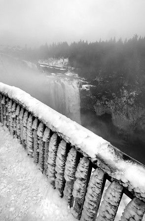 icy viewing deck overlooking Snoqualmie Falls, WA 11-25-2010
