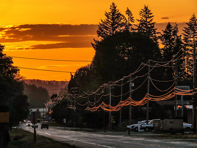 Electric Avenue-sunset on power lines-North Bend Way 6-2-2014_Snapseed