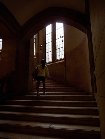 girl on staircase in University of Washington library, Seattle 6-2010