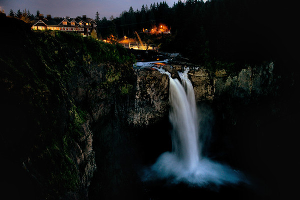 Snoqualmie Falls after sunset, WA 9-13-2012