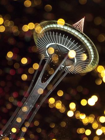Space Needle & Christmas tree through sunroof-Seattle, WA 1-1-2010