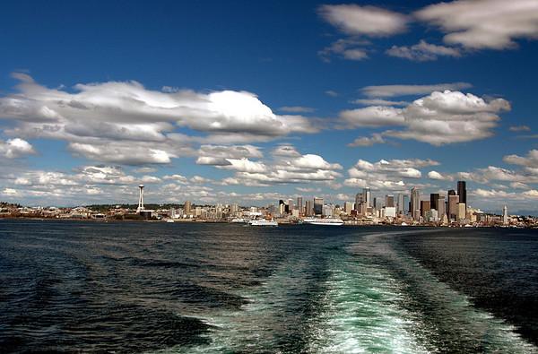 Seattle skyline & ferry wake on Elliott Bay 7-2006