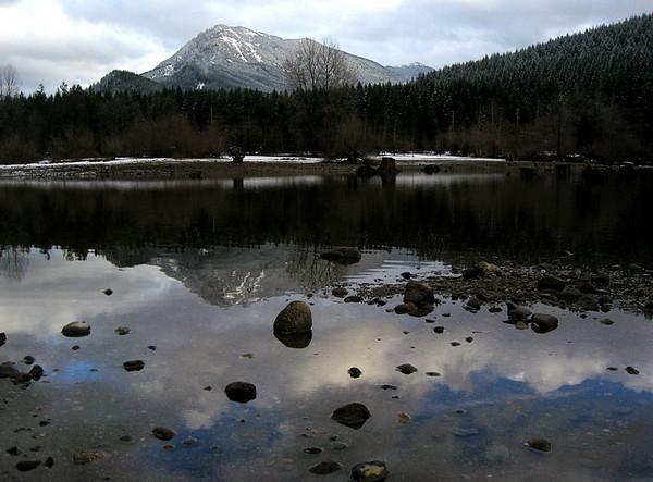 Mount Si reflecting in Rattlesnake Lake-North Bend, WA 1-7-2008