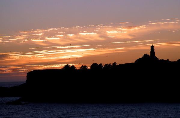 Tatoosh Island & lighthouse @ sunset-off coast of Cape Flattery, WA 7-12-2008