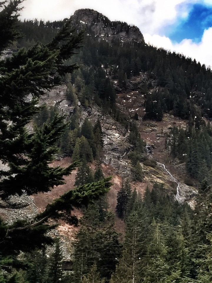 view of I-90 waterfall from Denny-Creek-Alpental road near Snoqualmie Pass, WA 2-12-2015