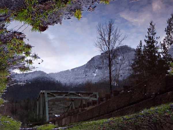 sky has fallen-Edgewick Bridge in puddle-North Bend, WA 12-2010