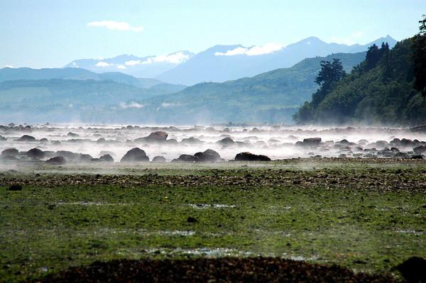 Pillar Point County Park-mist & mountains-Olympic Peninsula, WA 7-2006