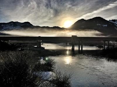 mist & sunset over Gold Creek, I-90 & Lake Keechelus - Snoqualmie Pass, WA 1-25-2015