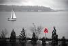 ampersand & sailboat on Elliott Bay, mod-Olympic Sculpture Park, Seattle, WA 11-27-2010