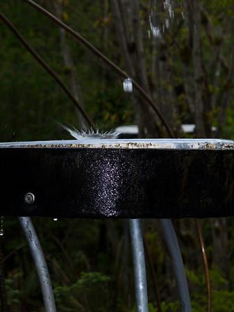 water droplet splashing on drum in rain court @ Cedar River Watershed Ed Center-North Bend, WA 4-29-2010