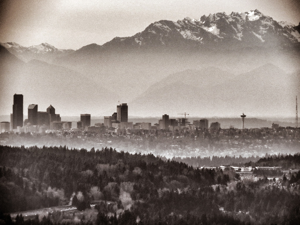 Seattle skyline & Olympic mountains from Issaquah Highlands 3-5-2015_Snapseed