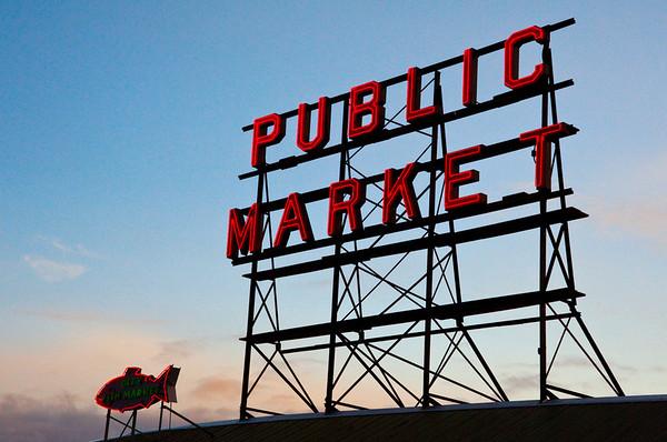 Pike Place Public Market neon sign & fish-Seattle, WA 11-27-2010