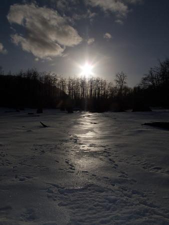 sunset on snow-Rattlesnake Lake-North Bend, WA 1-23-2012