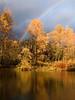 rainbow & river reflecting autumn colors-Three Forks Dog Park-Snoqualmie, WA 11-2009