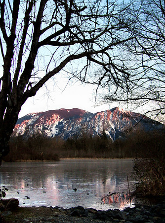 Mount Si breaking through the ice on Mill Pond-Snoqualmie, WA 1-23-2008