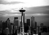 bw Queen Anne Hill - Space Needle & skyline 2001 Feb