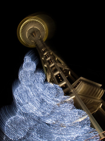 Space Needle & Christmas tree swirl-Seattle Center, WA 12-26-2009
