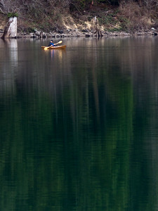 kayaker on Rattlesnake Lake 2-12-2012