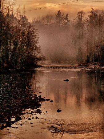 mist on Snoqualmie River from Edgewick Bridge-North Bend, WA 12-30-2012
