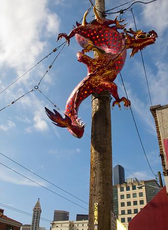 dragon above the International District-Seattle, WA 8-8-2011