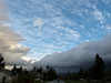 blue sky, and cloud layer over North Bend-from downtown Snoqualmie, WA 2-22-2012