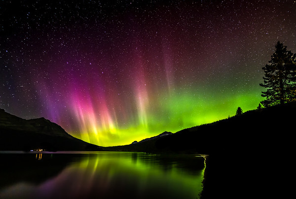 NIGHT BOW OVER BOW LAKE: BANFF NATIONAL PARK, CANADA