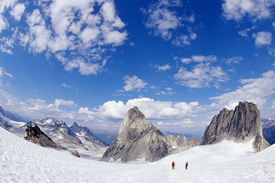 Climbers descend the Vowell Glacier, Bugaboos
