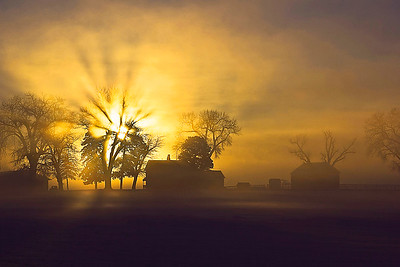 WINTER SUNRISE FARMHOUSE 1