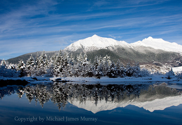 Mount McGuiness, Reflection in Beaver Pond, Juneau, Alaska
