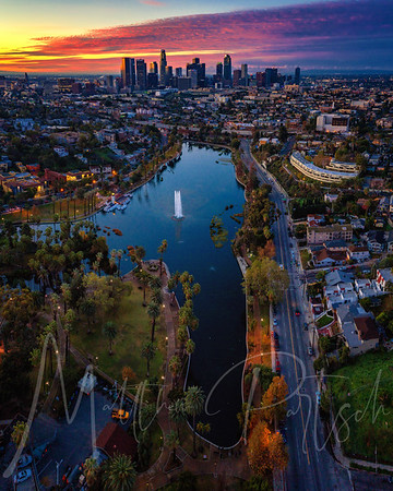 Echo Park at blue hour - Downtown Los Angeles